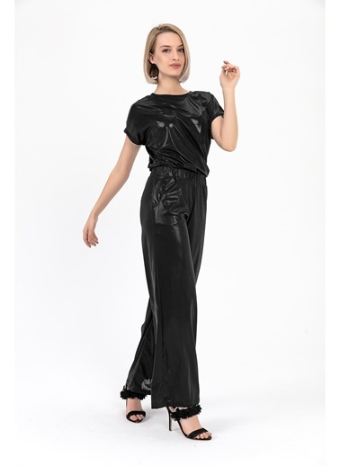 Tiffany&Tomato Parlak Yüksek Bel Geniş Paça Pantolon - Vizon Siyah
